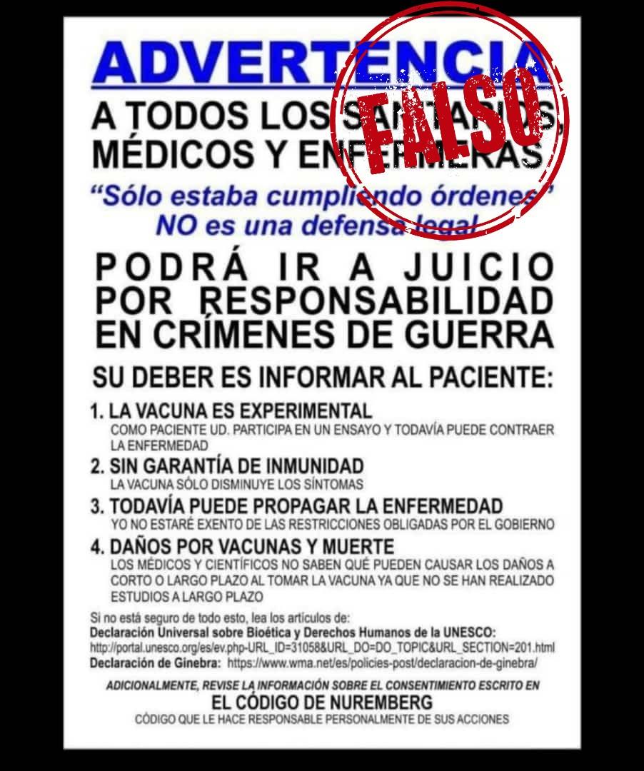 Cartel con datos falsos sobre vacunación y crímenes de guerra