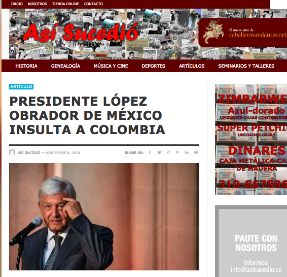 Noticia falsa sobre insulto de AMLO a Colombia