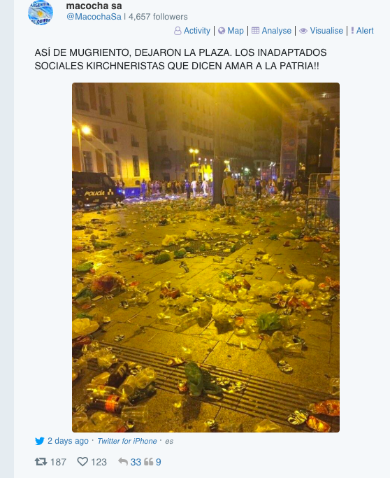 Imagen de Madrid usada en Argentina