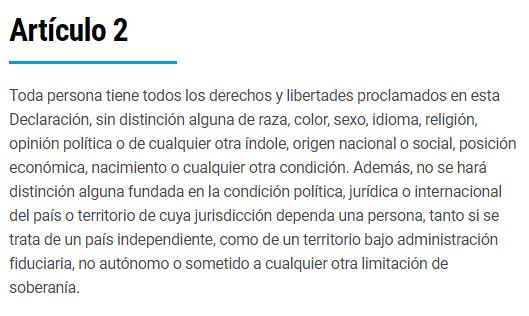 Artículo 2. Declaración Universal de los  Derechos Humanos