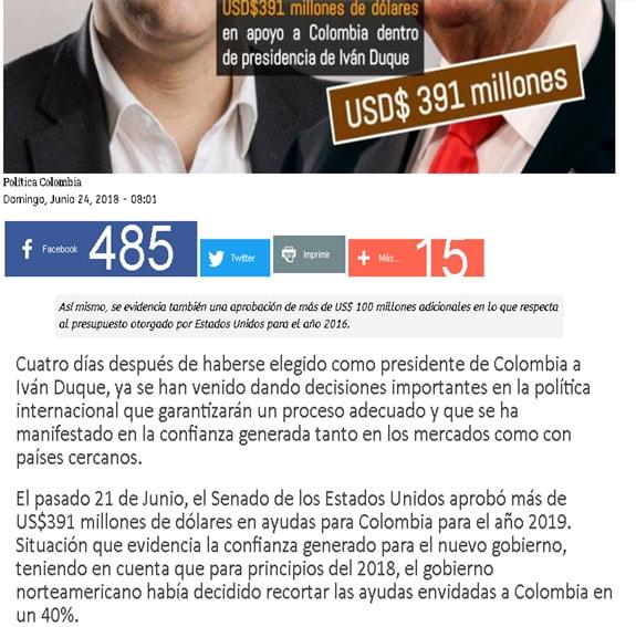 Nota engañosa sobre ayuda económica de EE.UU. a Colombia