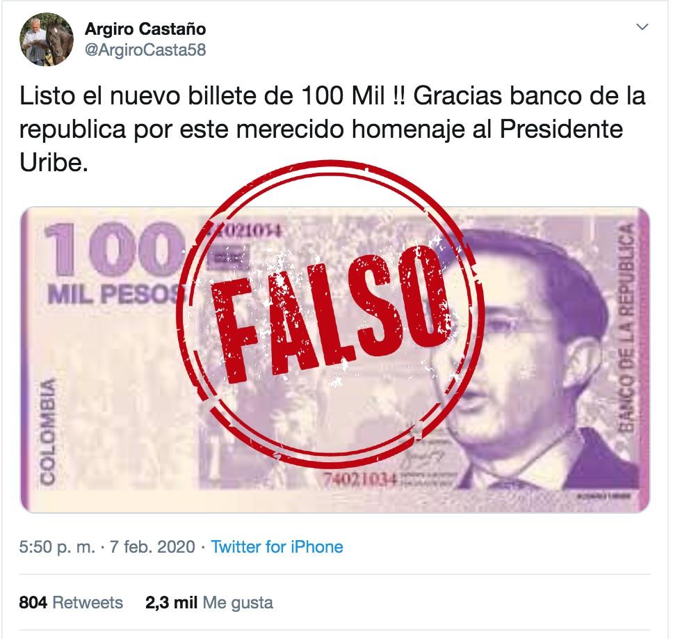 Foto de falso billete de cien mil de Uribe