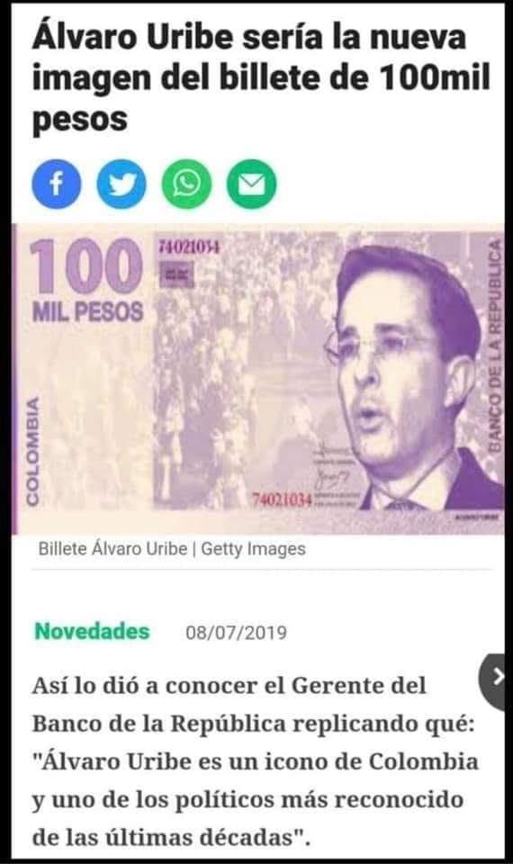 Supuesta captura de pantalla de la noticia sobre el billete de Álvaro Uribe