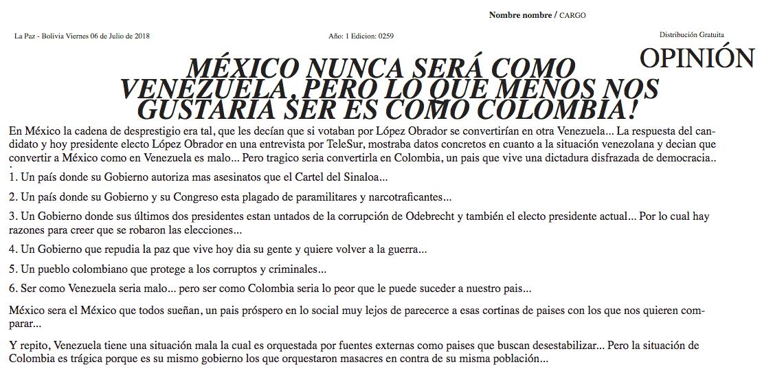 Noticia falsa publicada en Bolivia sobre AMLO y Colombia