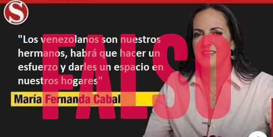 """María Fernanda Cabal no dijo: """"Los venezolanos son nuestros hermanos, habrá que hacer un esfuerzo y darles un espacio en nuestros hogares"""""""