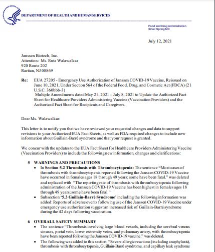 Carta de la FDA a Janssen