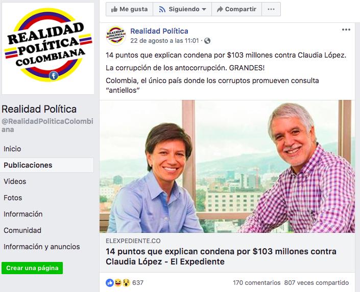 Noticia falsa sobre Claudia López en Facebook