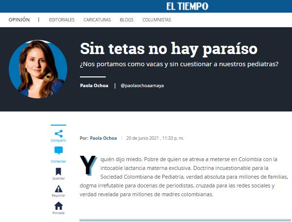 Columna El Tiempo Paola Ochoa