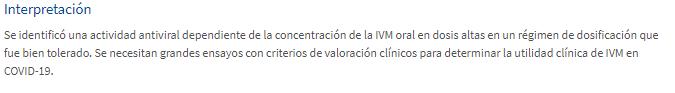 Conclusión  estudio Ivermectina E Clinical Medicine