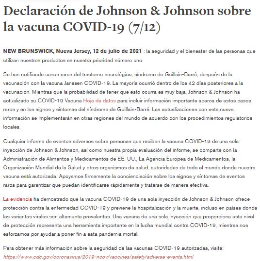 Declaración de Johnson y Johnson
