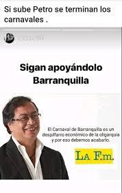 Meme falso sobre Petro contra el carnaval de Barranquilla