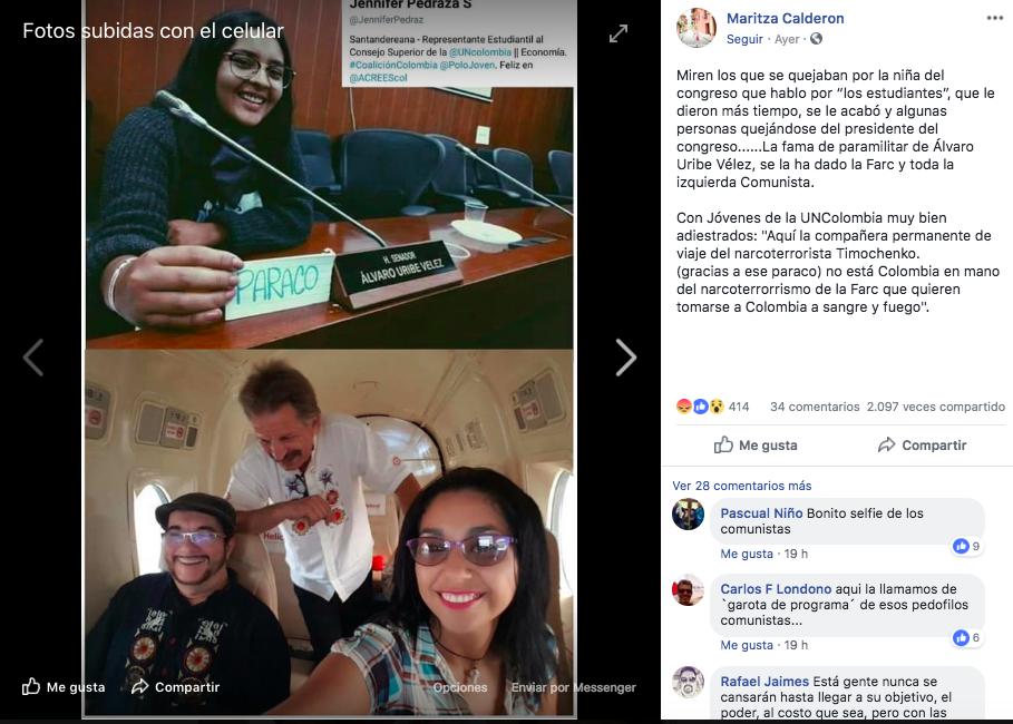 Montaje de líder estudiantil con Timochenko en Facebook