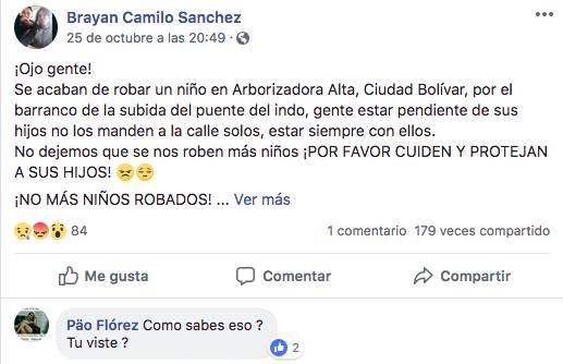 Falsa noticia que causó linchamiento en Ciudad Bolívar