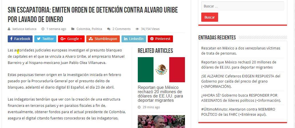 Noticia falsa sobre supuesta captura de Uribe