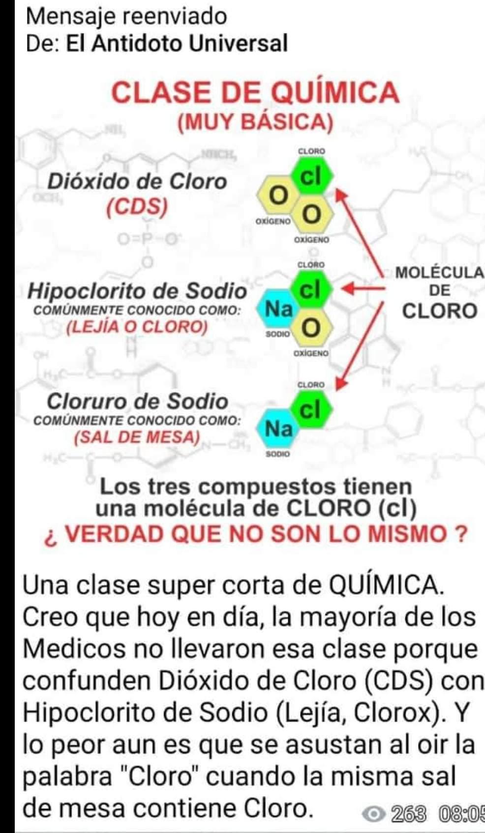 comparaciones del dióxido de cloro con otras sustancias