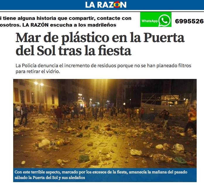 Noticia real en Puerta del Sol, España