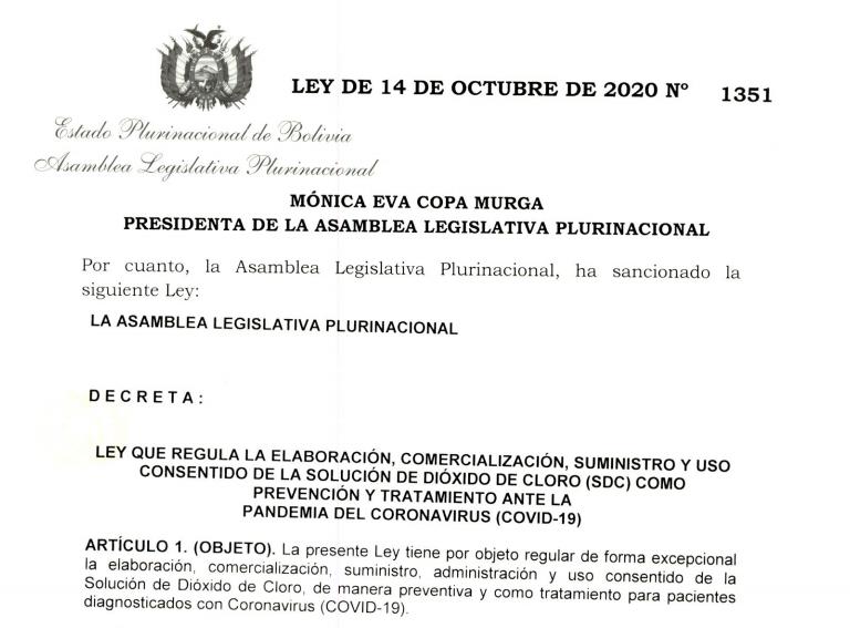 ley dióxido de cloro Bolivia