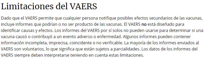 limitaciones del VAERS