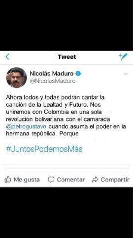 Pantallazo de falso trino de Maduro