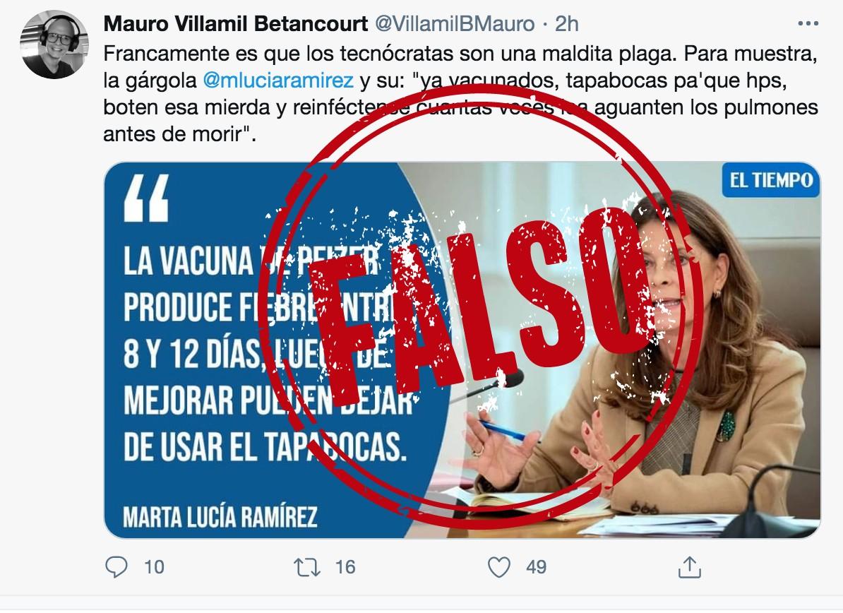 Montaje de frase sobre vacunas de Marta Lucia Ramírez