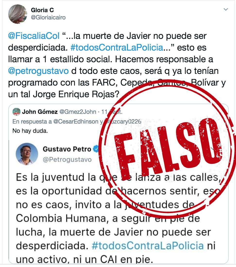 Montaje a trino de Petro contra la Policía por la muerte de Javier Ordóñez