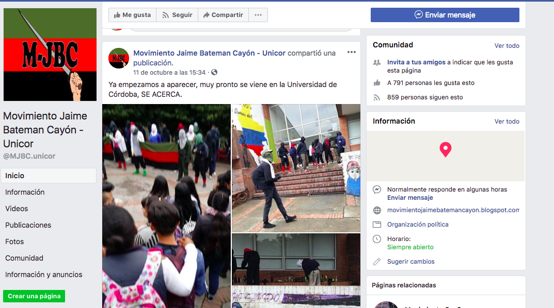 Página del movimiento Jaime Bateman Cayón en Facebook