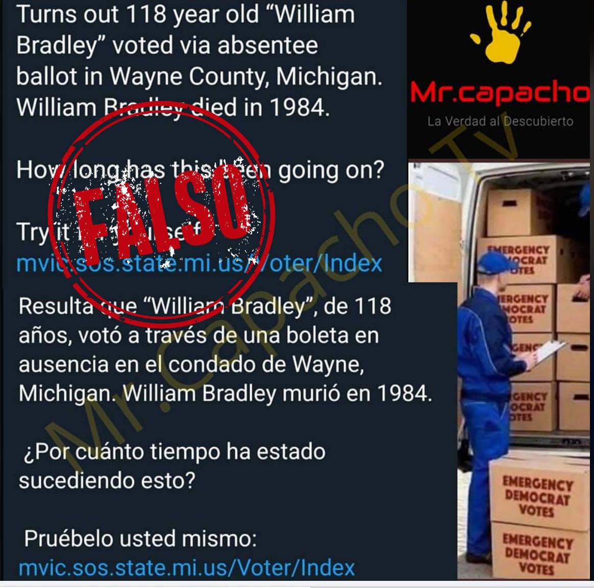 Pantallazo de publicación falsa de Mr capacho sobre fraude en elecciones en EE.UU.