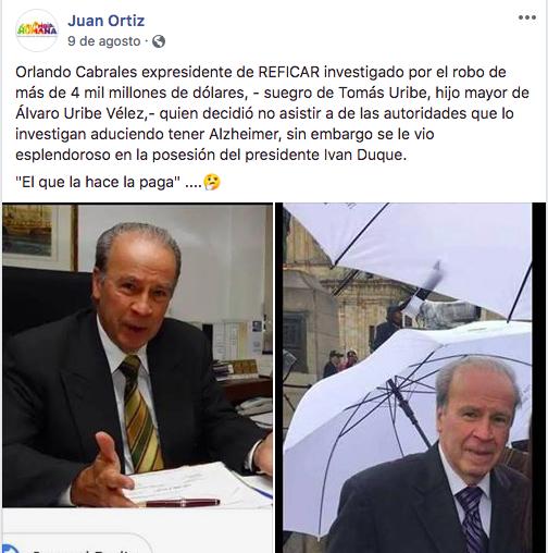 Publicación falsa sobre vínculo entre Uribe y el Cabrales de Reficar