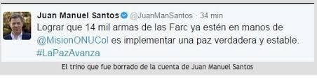 Tuit del presidente Santos sobre entrega de armas de las Farc