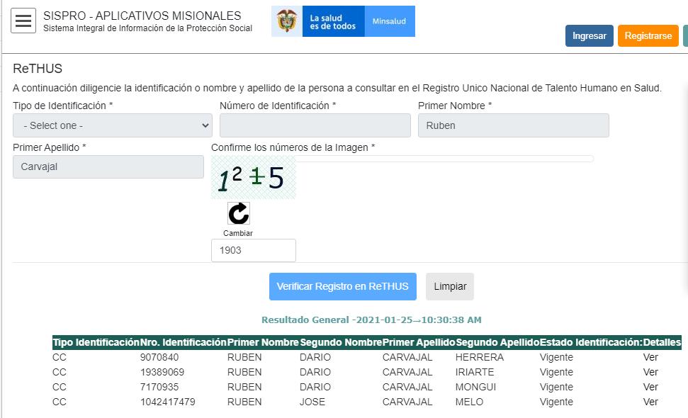 verificación de Ruben Carvajal RetHus