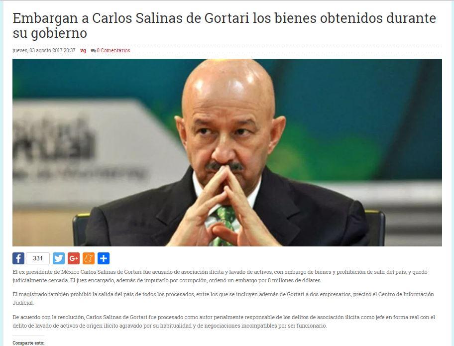 Noticia sobre embargo a Salinas en Argentina