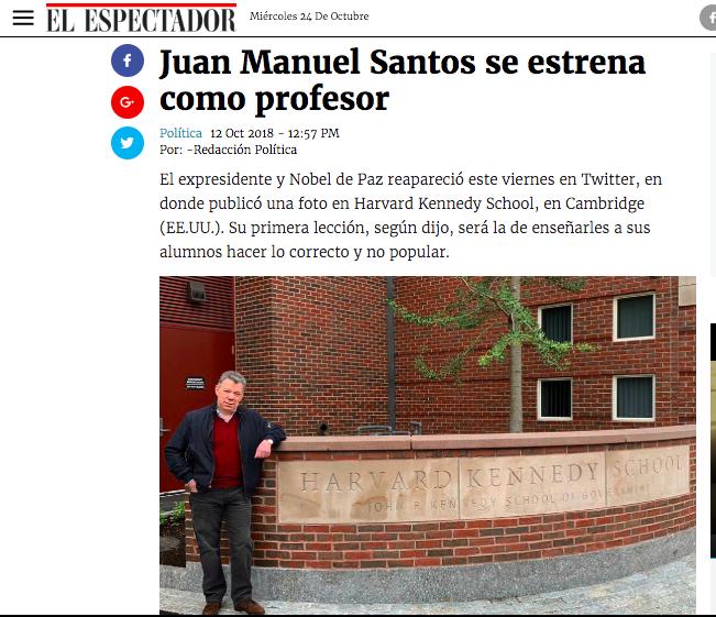 Nota real de El Espectador sobre Santos en Harvard