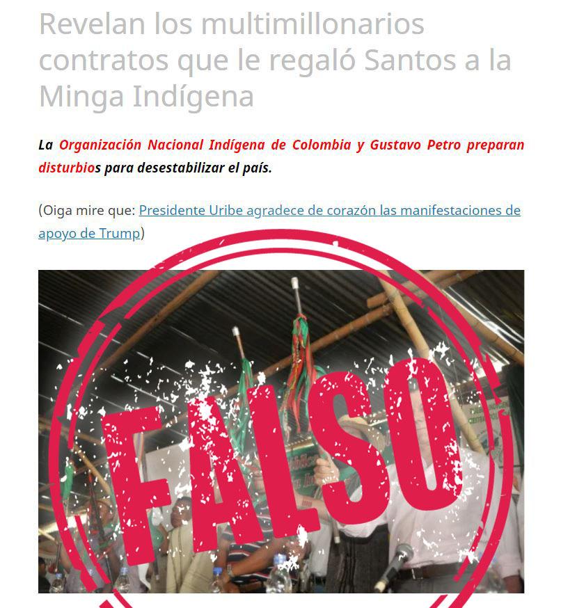 Pantallazo noticia falsa Oiga Noticias