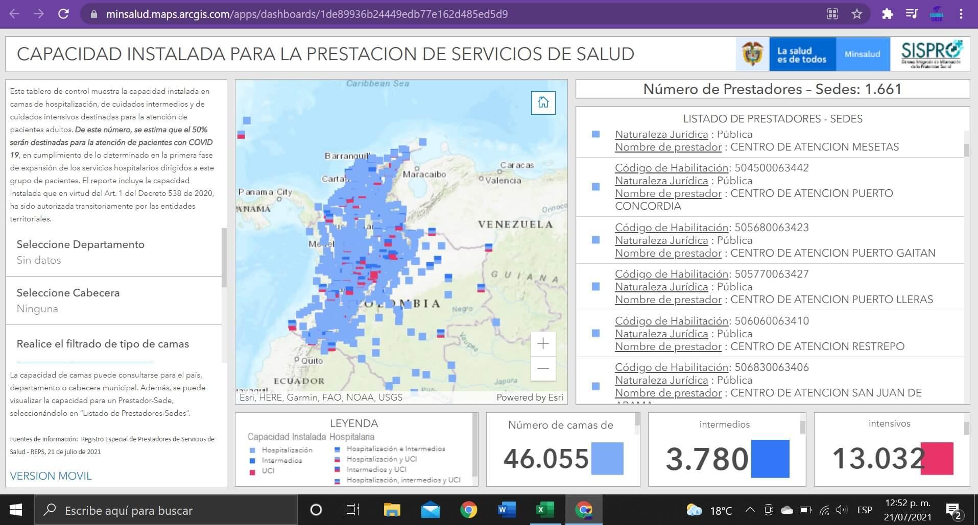 Pantallazo del mapa de Sispro con 13.000 UCI en Colombia al 21/07/2021