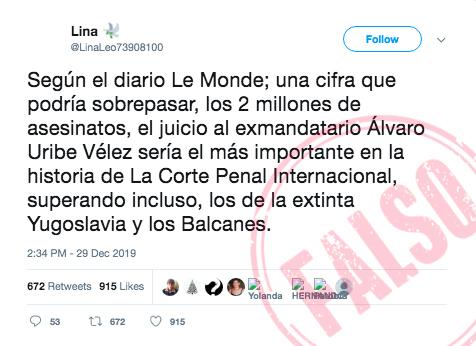 Trino falso sobre supuesta comparecencia de Uribe ante la CPI por 2 millones de asesinatos