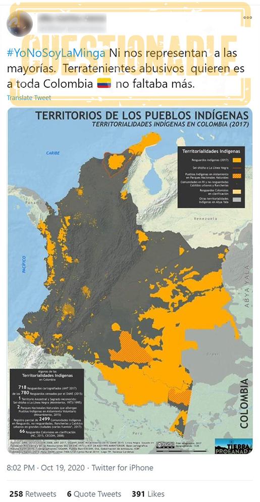 Publicación engañosa sobre mapa indígena