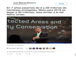 Tuit del presidente Santos sobre áreas protegidas