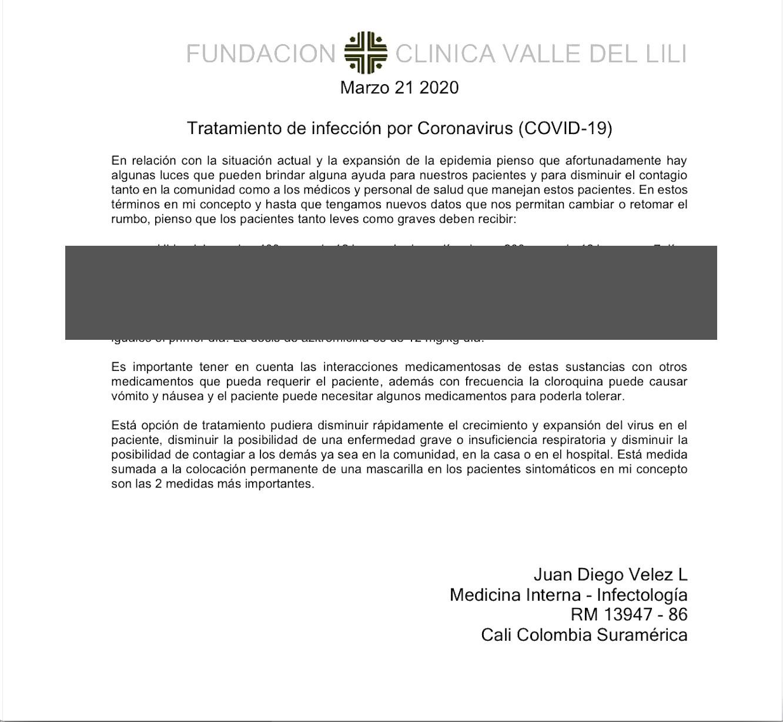 pantallazo documento de Valle del Lili con medicamentos Covid-19