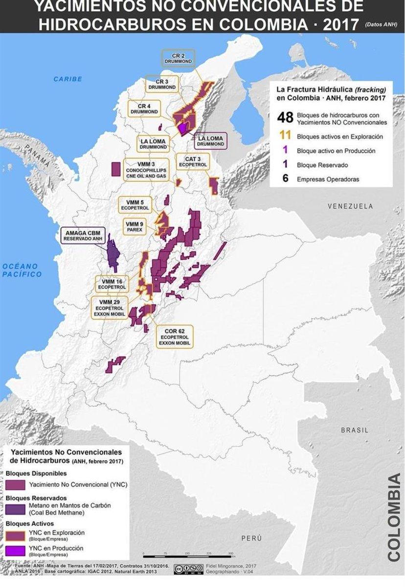 Mapa de yacimientos no convencionales de hidrocarburos en Colombia.